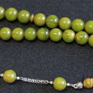 Prayer Beads Tesbih Marbled Yellow Green Modern Catalin & Sterling Silver
