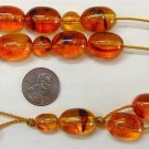GREEK KOMBOLOI VINTAGE AMBER GERMAN LARGE BEADS - COLLECTOR ITEM