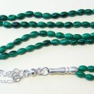 ISLAMIC PRAYER BEADS TESBIH SUBHA 99 MALACHITE AND STERLING SILVER