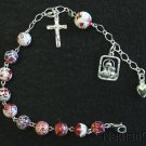 CATHOLIC ROSARY BRACELET IN FIRE CRACKLED AGATE AND STERLING SILVER