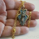 18 Kt Gold Brooch and Medal with Blue Enamel on Sterling Silver Early 20th Cent.