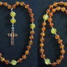 Anglican Episcopal Rosary Prayer Beads Amber and Sterling Silver