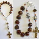Catholic Travel Rosary Chaplet Vintage Green Amber and Sterling Silver