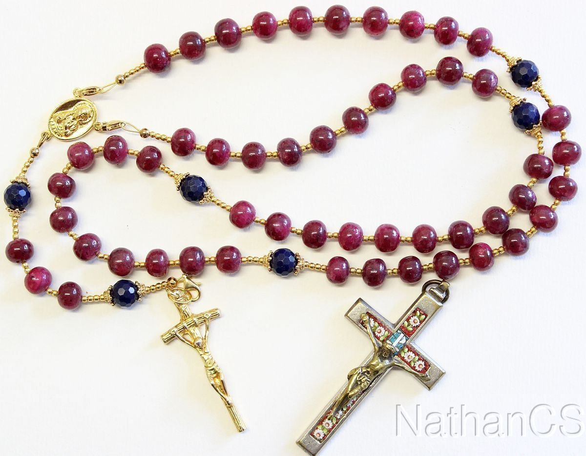 Catholic Rosary Ruby Sapphire Vermeil Wearable 7 Uses 2 crosses � RARE - UNIQUE
