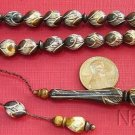 PRAYER WORRY BEADS TESBIH GEBETSKETTE CAMEL BONE OVAL FINE OTTOMAN CARVING