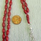 Prayer Beads Tesbih Gebetskette  Red Coral & Sterling Pine Seed Carve