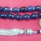 PRAYER WORRY BEADS GEBETSKETTE GENUINE SAPPHIRE & STERLING SILVER RARE OVAL CUT