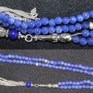 ISLAMIC PRAYER BEADS GENUINE CLEAR SAPPHIRE & STERLING