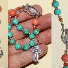 CATHOLIC TRAVEL ROSARY CHAPLET TURQUOISE CORAL & STERLING SILVER
