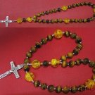 ANGLICAN ROSARY PRAYER BEADS TIGER EYE, AMBER AND STERLING SILVER