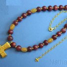 Ruby Vermeil Necklace w Artisan Handmade XIth Century Repro French Cross Pendant