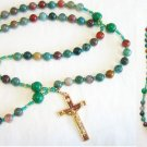 Catholic Rosary Bloodstone & Vermeil with Vintage Cross and St. Therese Center