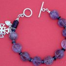 Catholic Rosary Bracelet Coin Amethyst Beads Sapphire & Sterling Silver