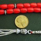 LUXURY PRAYER BEADS TESBIH KOMBOLOI RED CORAL BARREL BEADS AND STERLING SILVER