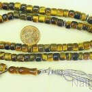Islamic Prayer beads 99 small Barrel VR Carving Tiger Eyer & Sterling Collector