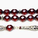 Prayer Beads Tesbih Rare Diamond 1930 Cherry TESTED Bakelite & Sterling Silver