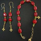 RUBY PERIDOT VERMEIL BRACELET ROSARY & ASSORTED EARRINGS - UNIQUE