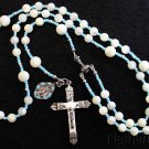 CATHOLIC ROSARY MOP & STERLING VINTAGE CROSS BLUE MEDAL ROSENKRANZ ANTIK KREUZ