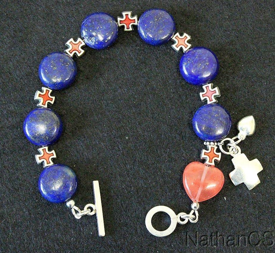 Anglican Rosary bracelet Lapis Lazuli rose Quartz Sterling silver and enamel