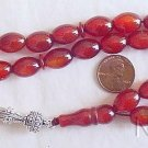 PRAYER WORRY BEADS TESBIH LARGE OVAL CARNELIAN & STERLING SILVER