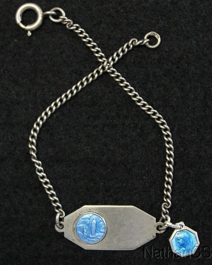 1950�s First Communion Sterling Silver Bracelet with Enamel Sterling Medal Charm