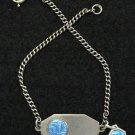 1950's First Communion Sterling Silver Bracelet with Enamel Sterling Medal Charm