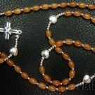 FIRST COMMUNION CATHOLIC ROSARY ROSENKRANZ RED AVENTURINE & STERLING SILVER