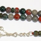 PRAYER WORRY BEADS GEBETSKETTE TESBIH AFRICAN BLOODSTONE & STERLING  SILVER