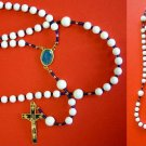 CATHOLIC ROSARY WHITE JADE, VERMEIL LADY OF FATIMA VINTAGE ENAMEL CROSS & CENTER