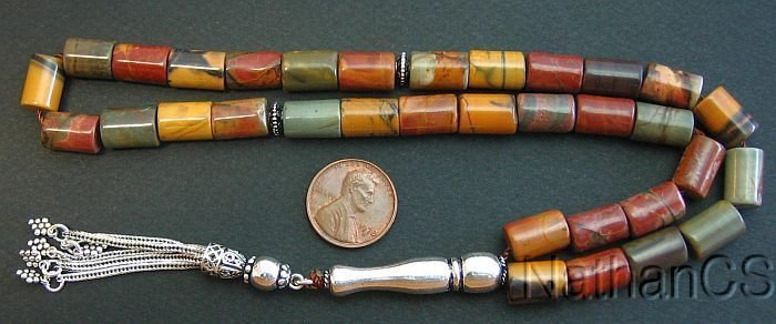 PRAYER BEADS TESBIH GEBETSKETTE RAINBOW PICASSO JASPER AND STERLING SILVER