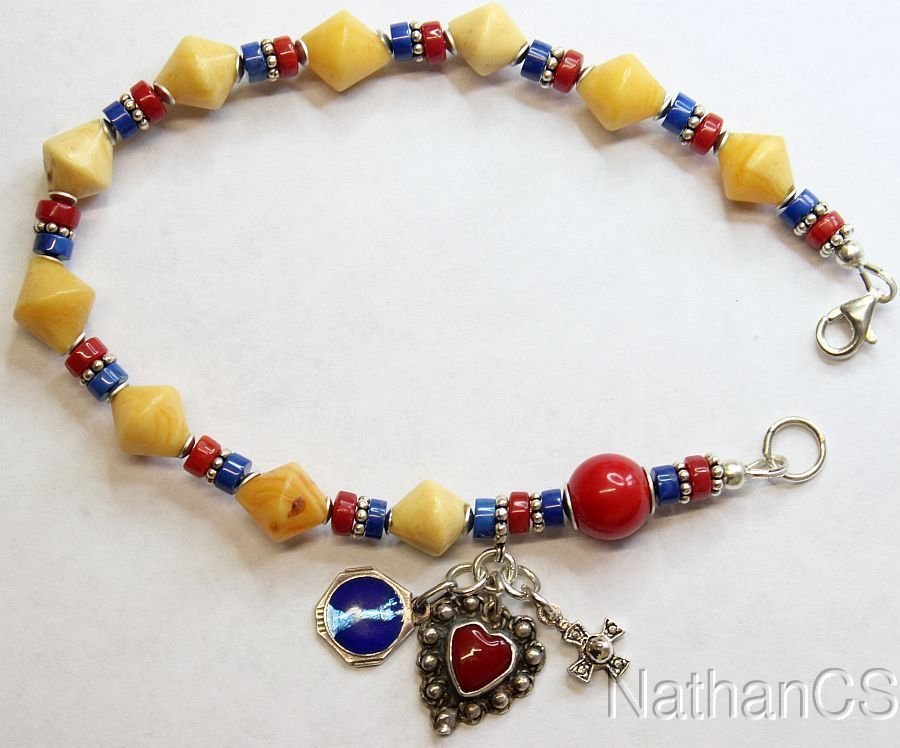 Catholic Rosary Bracelet Vintage Butterscotch Amber Lapis Coral Sterling Silver