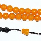 PRAYER BEADS APRICOT AMBER COLOR FATURAN TYPE RESIN VINTAGE TESBIH KOMBOLOI