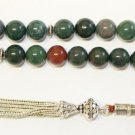 LUXURY PRAYER BEADS TESBIH  BLOODSTONE ( HELIOTROPE)  & STERLING - COLLECTOR'S