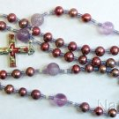 CATHOLIC ROSARY ROSENKRANZ PURPLE PEARL AMETHYST VINTAGE ENAMELED CENTER & CROSS
