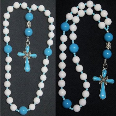 ANGLICAN  EPISCOPAL ROSARY WHITE JADE TURQUOISE AND STERLING UNIQUE AND RARE