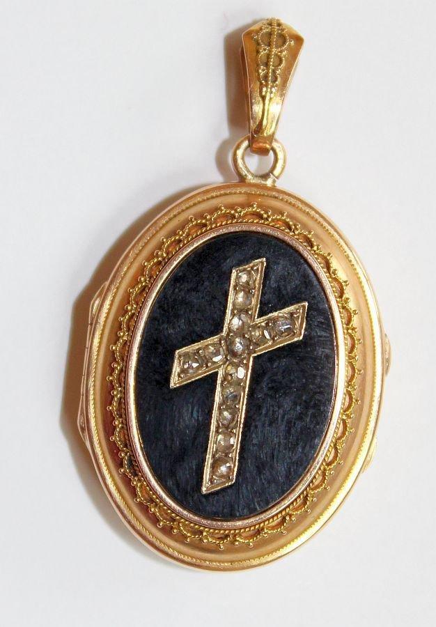 Victorian Onyx & 18K. Gold Locket w Tested Diamonds Cross - Pristine - VV Rare