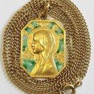 Exceptional Vintage 18 K Gold Chain AND Plique-à-Jour Virgin Mary Pendant Medal