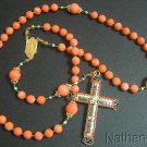 Wearable Catholic Rosary Salmon Coral Vermeil Micromosaic Cross - Exquisite Rare