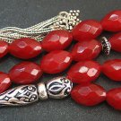 Prayer Worry Beads Tesbih Thai Faceted Genuine Ruby & Sterling Silver - Rare