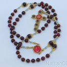 Garnet Catholic Rosary in Vermeil and Micro Mosaic Cross -- Unique Item -- Rare