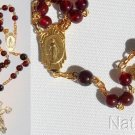 Catholic Rosary Gebetskette Garnet Beads & Gold Vermeil Chain, Cross & Center