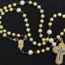 Catholic Rosary Yellow Pearls Vermeil Unique Micromosaic Cross 3 Ways Wearable