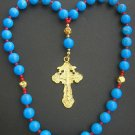 Beaded Chotki Komboskini w Turquoise & Coral Beads - Vermeil Orthodox Cross