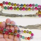 Luxury Prayer Beads Tesbih Multicolor Tourmaline & Sterling Rare Collector Item
