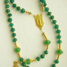 Catholic Rosary Genuine Faceted Emerald Beads and Gold Vermeil