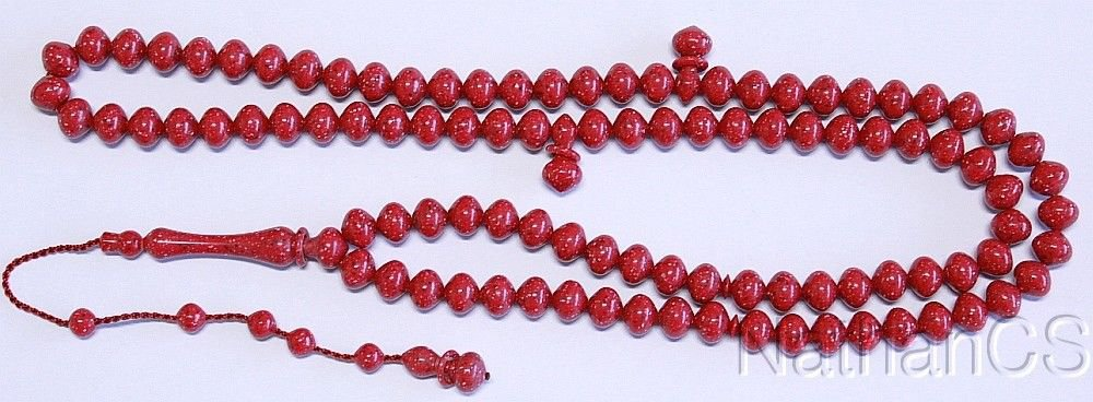 Islamic Prayer Beads Cherry Red Speckled Galalith 99 Beads Rare Collector's