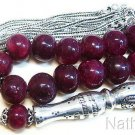 Prayer Beads Tesbih Genuine Large Ruby and Sterling Silver - Highly Collectible