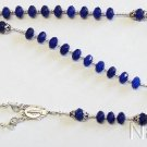 Wearable Catholic Rosary Faceted Genuine Sapphire and Sterling Silver