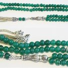 Islamic Prayer Beads Genuine Emerald & Sterling Silver Tassel - 99 Beads