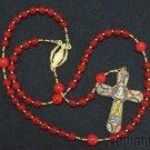 Catholic Rosary Genuine Round Ruby w Pius XII Micromosaic Jubilee Cross XXXRare